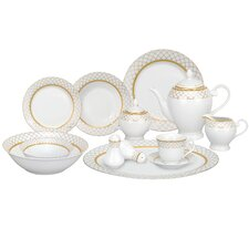 <strong>Lorren Home Trends</strong> Beatrice 57 Piece Porcelain Dinnerware Set