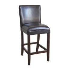 Faux Leather Seat High Barstool in Brown