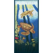 Natural BAmboo Sea Turtle Scene Curtain Single Panel