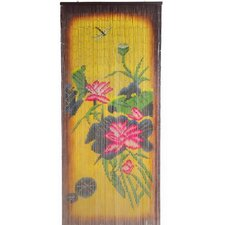 Natural Bamboo Earthtone Florals Curtain Single Panel