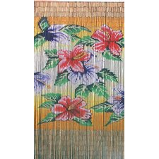 Natural Bamboo Tropical Flowers Curtain Single Panel