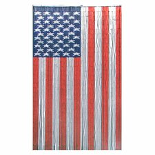 Natural Bamboo American Flag Curtain Single Panel