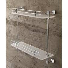 White Plexiglass Two-Tier Shelf with Rails