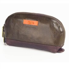 Glazed Leather Accessory Pouch in Glazed Green with Orange