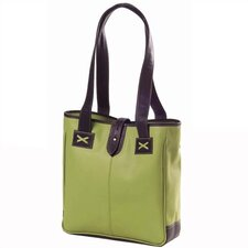 Colored Vachetta Small Open Tab Tote in Green/Café
