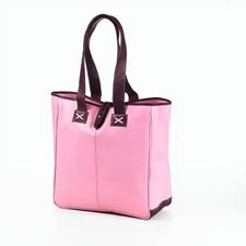Colored Vachetta Oversized Tote in Pink/Café