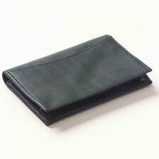 Faux Leather Slim ID Wallet in Black