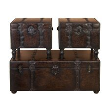Urban Trends 3 Piece Wood Leather Trunk with Metallic Accents