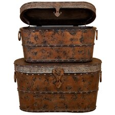 Toscana 2 Piece Wood Metal Trunk