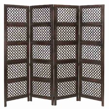 "72.83"" x 80"" Loft Wood Screen 4 Panel Room Divider"
