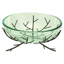 Urban Trends Modern Glass Bowl Metal Stand
