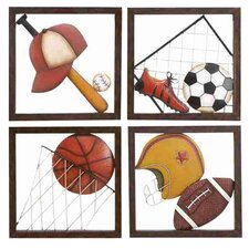 4 Piece Loft Aseball Décor Wall Plaque
