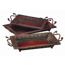 <strong>UMA Enterprises</strong> 3 Piece Loft Serving Tray Set