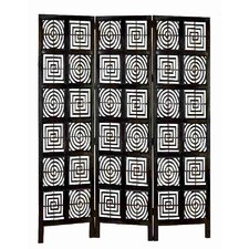 "74.5"" x 28"" Rustic Hand Carved  Screen 3 Panel Room Divider"