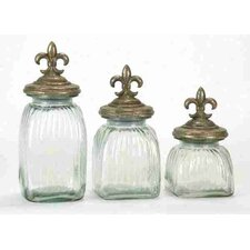 Toscana 3 Piece Floral Glass Jar Set