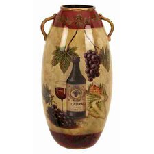 Urban Trends Ceramic Vase with Wine Bottle and Grapes