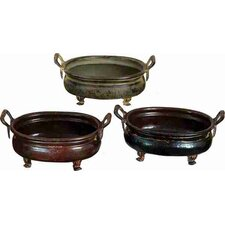 <strong>UMA Enterprises</strong> Urban Trends Rare Metal Round Planters in Assorted (Set of 3)