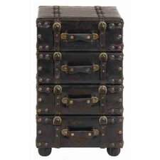 Urban Trends Wood Leather Side Chest
