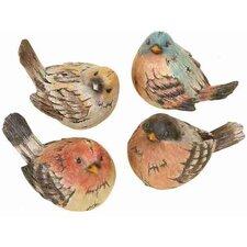 4 Piece Metro Polystone Birds Figurine
