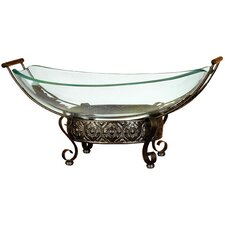 Urban Trends Round Metallic Structure Glass Bowl Metal Stand