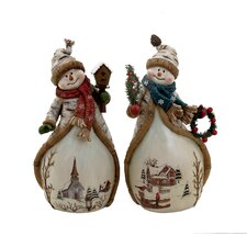 2 Piece Snowman Figurine Set