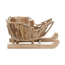 Handcrafted Wood Santa Sled Figurine