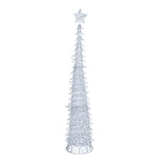5' Silver Artificial Christmas Tree with Star and Glitter
