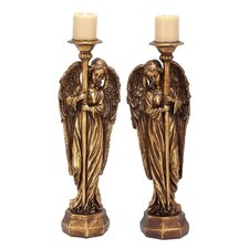 2 Piece Angel Polystone Candlestick Set
