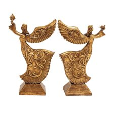 2 Piece Antiqued Christmas Angels Figurine Set