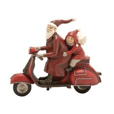 Santa Riding Scooter with Child Figurine