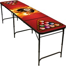 8 Ball Fire Beer Pong Table in Black Aluminum