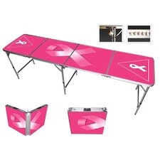 Pink Ribbon Beer Pong Table in Black Aluminum