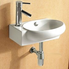 Ceramica Oval Wall Mounted Bathroom Sink