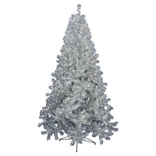 <strong>Vickerman Co.</strong> 8' Silver Artificial Christmas Tree with 600 Clear Mini Lights with Stand