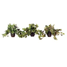 Floral Medium Artificial Potted Assorted Plants in Green (Set of 3)