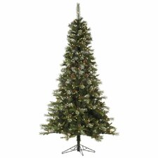Iced Sonoma Pencil 7.5' Green Spruce Artificial Christmas Tree with 500 LED White Lights