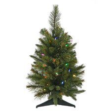 Cashmere 2' Green Pine Artificial Christmas Tree with 30 LED Multi-Colored Lights