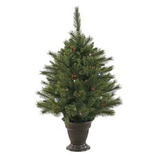 Cashmere 3.5' Green Pine Artificial Christmas Tree with 50 LED Multi-Colored Lights