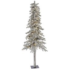 Flocked Alpine 7' White Artificial Christmas Tree with 300 LED White Lights with Stand