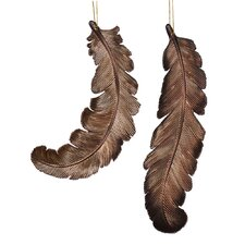 Feather Matte-Glitter Ornament (Set of 6)