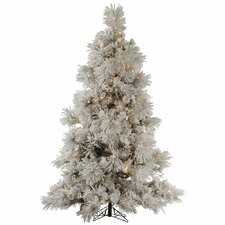 Flocked Pocono 7.5' White Pine Artificial Christmas Tree with 650 Clear Lights