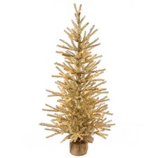 Champagne 4' Burlap Base Artificial Christmas Tree with 100 Clear Light