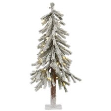 Flocked Alpine 2' White Artificial Christmas Tree with 50 LED White Lights with Stand