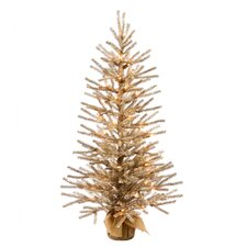 4' Mocha Tree with Burlap Base Artificial Christmas Tree with 100 Clear Light