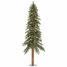 Natural Alpine 8' Green Artificial Christmas Tree with 400 Multi-Colored Lights