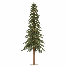 Natural Alpine 8' Green Artificial Christmas Tree with 400 Clear Lights