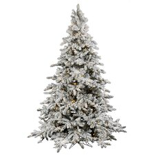 Flocked Utica 6.5' Green Fir Artificial Christmas Tree with 550 LED Warm White Lights with Stand