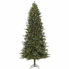 Virginia Slim 6.5' Green Pine Artificial Christmas Tree with 384 LED Multi-Colored and White Lights