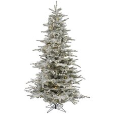Flocked Sierra 8.5' White Fir Artificial Christmas Tree with 700 LED White Lights with Stand