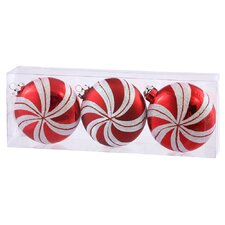 Candy Cane Flat Ball Ornament (Set of 3)